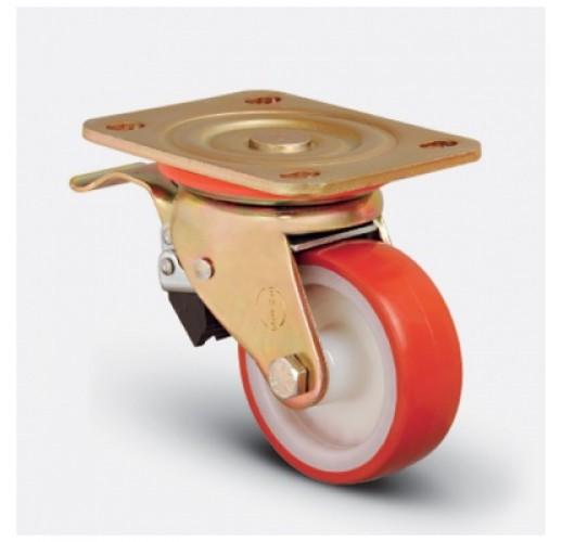 Колесо большегрузное полиуретановое поворотное с тормозом 80 мм ED01 ZBP 80 F