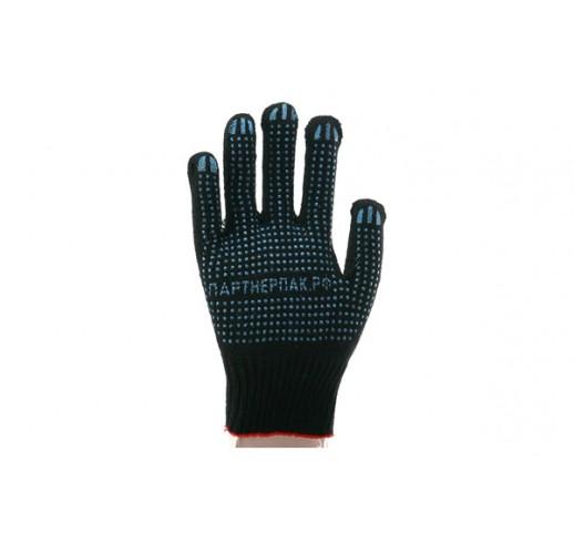 Перчатки рабочие черные с ПВХ 4 нити (упаковка 200 шт)