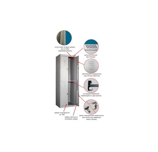 Металлический шкаф для одежды ШРК-24-600 в разобранном виде