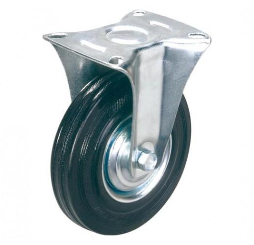 FC 80 колесо 200 мм неповоротное черная резина (опора неповоротная)