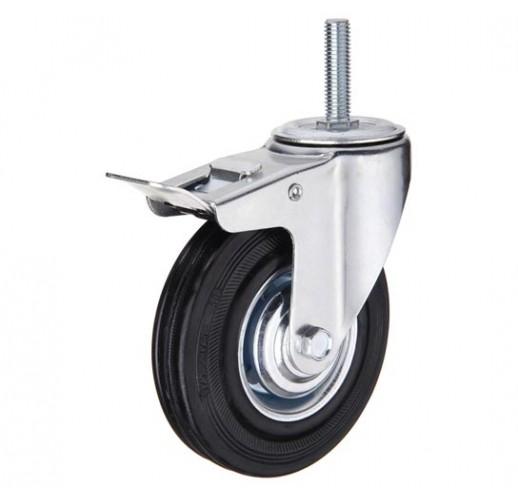 SCtb 42 колесо 100 мм с тормозом болтовое крепление M12 черная резина