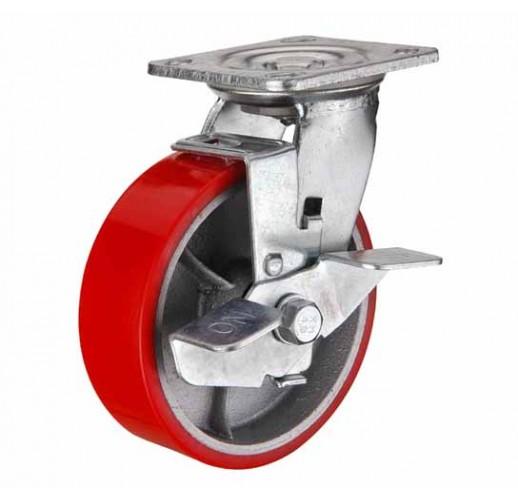 SCpb 80 колесо 200 мм поворотное большегрузное  чугунное полиуритановый обод с тормозом (опора поворотная)