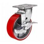 SCpb 42 колесо 100 мм поворотное большегрузное  чугунное полиуритановый обод с тормозом (опора поворотная)