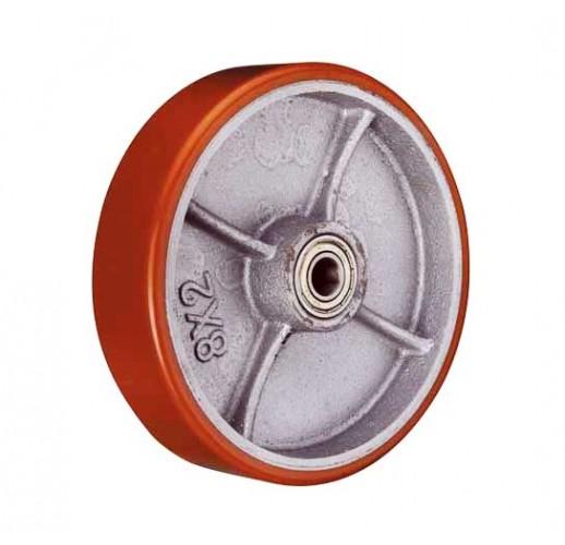 P 46 колесо 100 мм большегрузное  чугунное полиуритановый обод без кронштейна