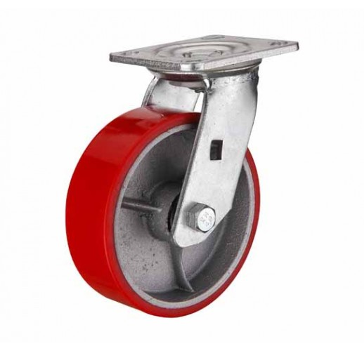 SCp 63 колесо 150 мм поворотное большегрузное  чугунное полиуритановый обод (опора поворотная)