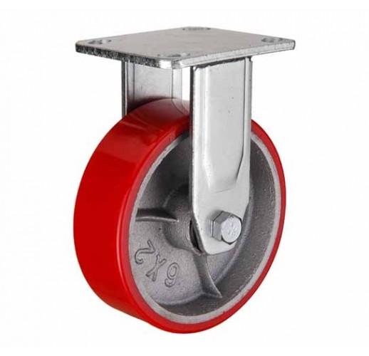 FCp 80 колесо 200 мм неповоротное большегрузное  чугунное полиуритановый обод (опора неповоротная)