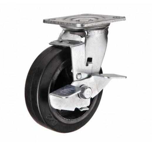 SCdb 42 колесо 100 мм поворотное большегрузное  чугунное обрезиненное с тормозом (опора поворотная)