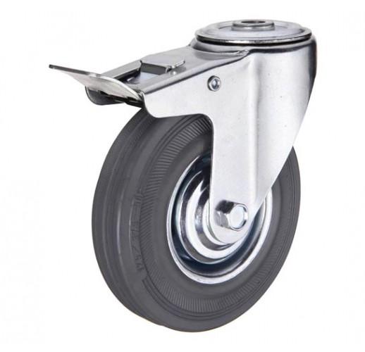 SChgb 93 колесо 75 мм с тормозом крепление - отверстие под болт серая резина