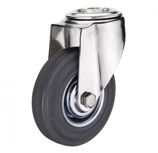 SChg 42 колесо 100 мм  крепление - отверстие под болт серая резина