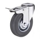 SChgb 25 колесо 50 мм с тормозом крепление - отверстие под болт серая резина