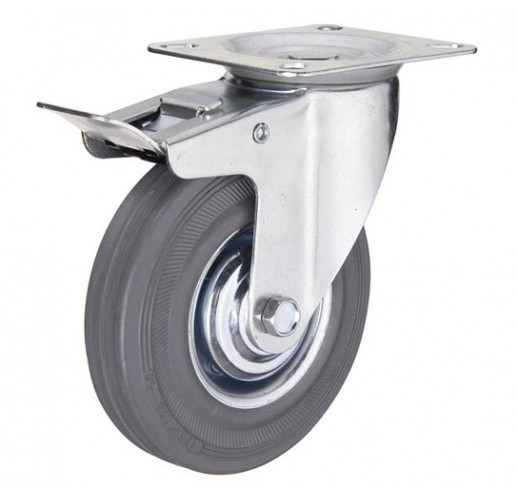 SCgb 55  колесо поворотное 125 мм с тормозом серая резина (опора поворотная)