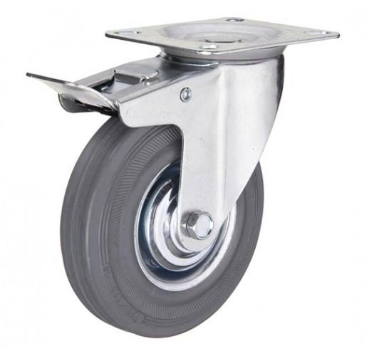 SCgb 42  колесо поворотное 100 мм  с тормозом серая резина (опора поворотная)