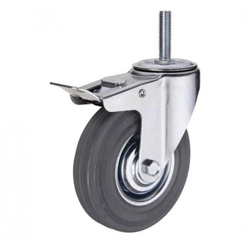 SCtgb 42  колесо 100мм с тормозом болтовое крепление M12 серая резина