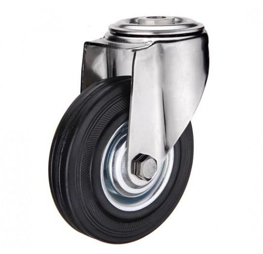SCh 55 колесо 125 мм крепление - отверстие под болт черная резина