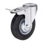 SChb 97 колесо 85 мм с тормозом крепление - отверстие под болт черная резина