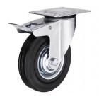 SCb 42 колесо поворотное с тормозом 100 мм черная резина (опора поворотная)