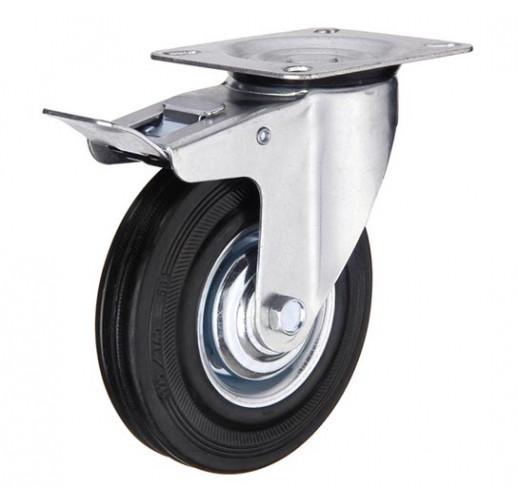 SCb 93 колесо поворотное с тормозом 75 мм черная резина (опора поворотная)